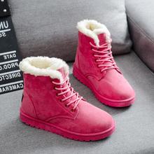 Señora Nueva Botines de Plataforma Punta Redonda Zapatos de Mujer Otoño Invierno Flock Botas para la nieve Niña Moda Lace Up Botas Planas de Algodón Acolchado 30(China (Mainland))