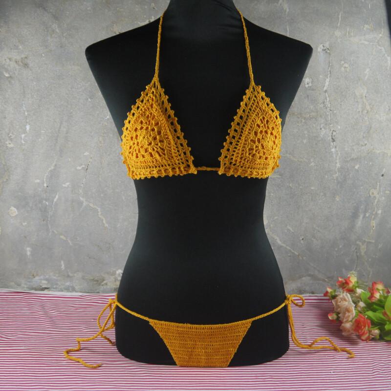 Exclusive Bilayer crochet bikini Set, honeymoon hippie Bikini, beach, swimming pools, spas yacht Swimsuit(China (Mainland))