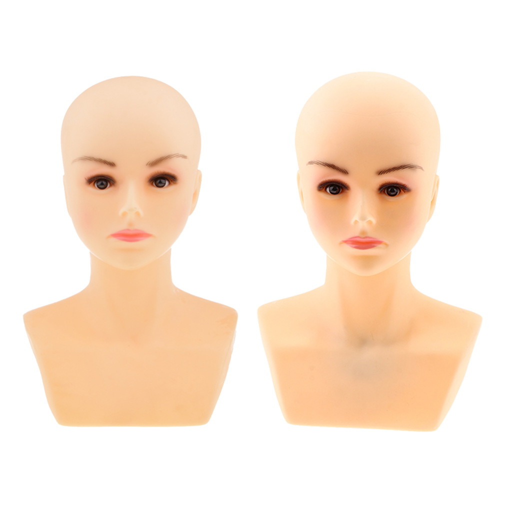 2pcs Cosmetology Female Mannequin Head with Bust Shoulder Bald Doll for Wig Hat Necklace Jewelry Display