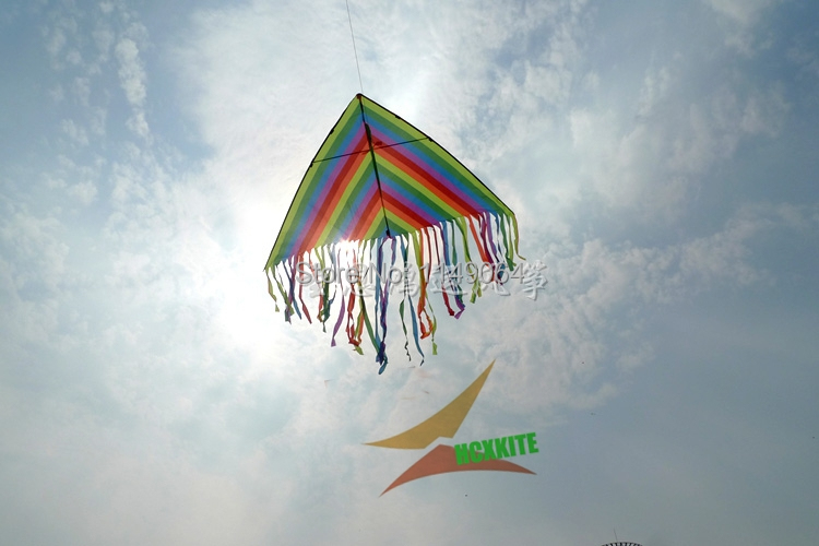 free shipping high quality 2m rainbow delta kite children kite with handle line kites 3d crafts