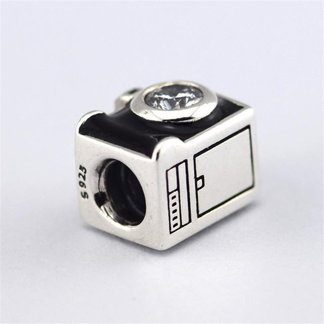 Предварительно - осень стиль S925 стерлингового серебра Jewerly черной эмалью и CZ камень камеры бусины подходит известный бренд очаровывает браслеты и ожерелье