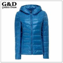 JD157 Plus Size Winter Ultralight Down Hooded Jackets and Coats Women Duck Parka Pluma Black Sportwear Casacas Campera Mujer