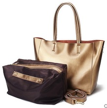 fashion women tote bag, geniune leather handbag bling color(China (Mainland))