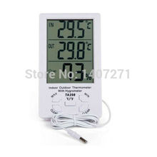 C/F Indoor/Outdoor Thermometer with Hygrometer Digital LCD clock Sensor probe free shipping(China (Mainland))