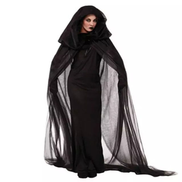 Witch Sorceress Demon Cosplay Costumes Black Mesh Long Maxi Dress and Cloak Gloves Set Halloween Costumes For Women 2016(China (Mainland))