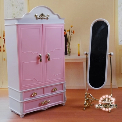 Genuine Plastic Pink Clothes Shoes Wardrobe with Dressing Mirror Organizor Set for Barbie Kelly Dolls Girl Dollhouse Furniture(China (Mainland))