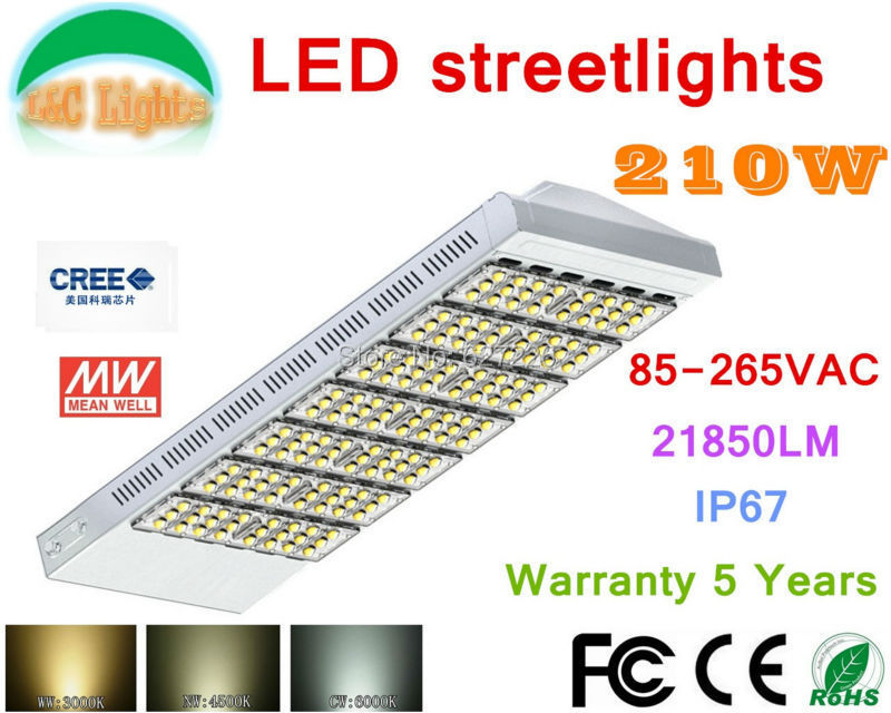 210W CREE LED Street Lights IP67 Main road lighting Highway lighting Elevated road and bridge lighting CE RoHS 85-265V MEAN WELL(China (Mainland))