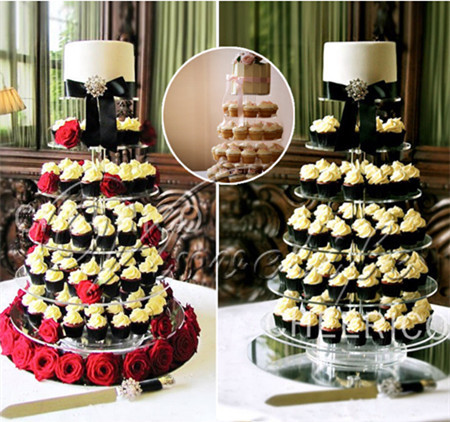 4 Tier Crystal Clear Circle Round Acrylic Cupcake Tower Stand Wedding Birthday Cake Plate Candy Dessert Pan Decoration(China (Mainland))