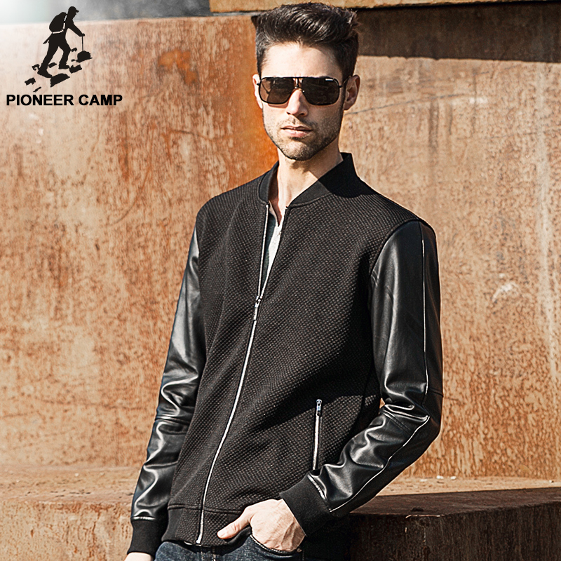 Pioneer Camp fashion mens jackets and coats cardigan hoodies coat PU casual jackets for men brand clothing 520038(China (Mainland))