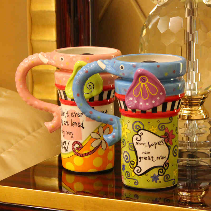 Drinkware princess Big Coffee Mug Ceramic Kids birthday Gifts personality Stained Drinking office Lovers handmade lephant Cup(China (Mainland))