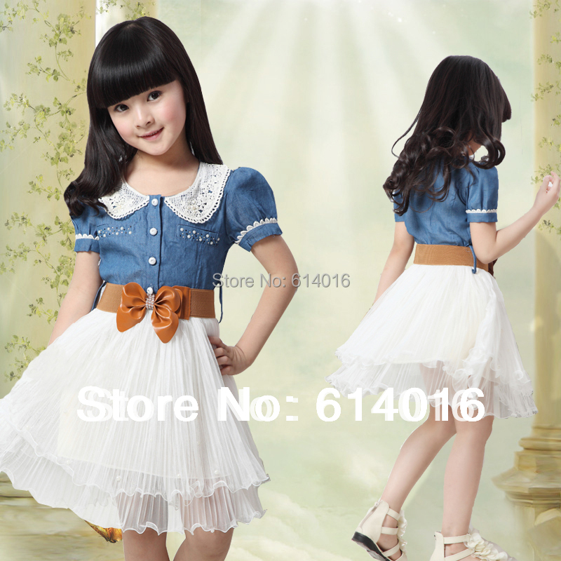 45789-10-1213Y new 2015 Children clothing 100% cotton denim dresses little girl party dress baby girls princess dress with belt(China (Mainland))