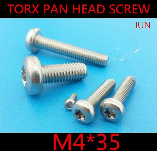 100pcs DIN7985 M4 x 35 M4*35 A2 Stainless Steel Torx Pan Head Machine Screw Screws(China (Mainland))