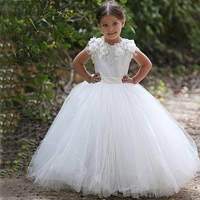 Жилетidos де daminha белого тюля кружева аппликации бальное платье с детские платья ...