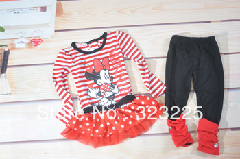 Free shipping Girl's suits children's cartoon Stripe dress suits Girl's Minnie long-sleeved one-piece dress + leggings 5set/lot