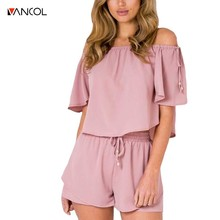 Buy vancol 2017solid slash neck elegant jumpsuit romper shoulder two piece suit overalls Sexy summer beach playsuit women outfit for $13.43 in AliExpress store