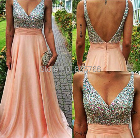 New Coral Pink Sexy V Neck Backless Crystal Sequins Prom Dresses Long Chiffon Elegant Formal Gowns 2015 robes de soiree longue