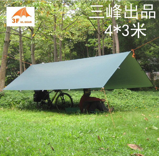 3F ul gear ultralight beach awning camping tent 4*3m tarp 210T with silver coating tilt sun shelter Pergola with aluminum rod(China (Mainland))