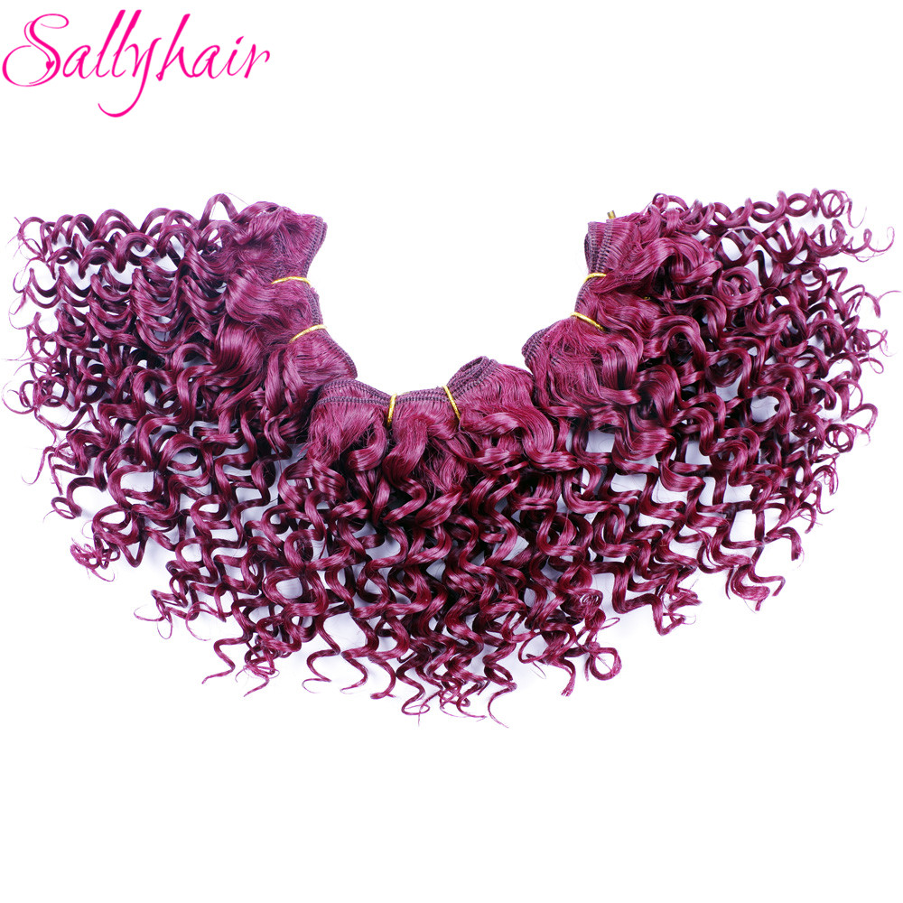 Sallyhair Ombre Color Afro Kinky Curly Crochet Hair Weave Mixed Black Burgundy Synthetic Hair Extensions 3pclot Hair Weavings  (8)