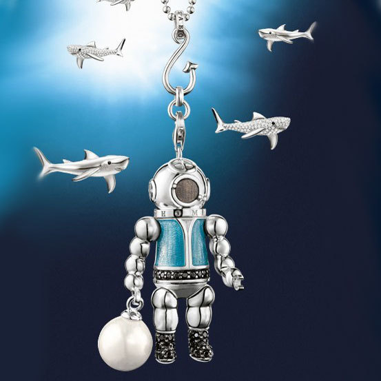 Fashion Pendants Necklaces, Free shipping silver plated blue robot pendants Necklaces TS-NE034(China (Mainland))