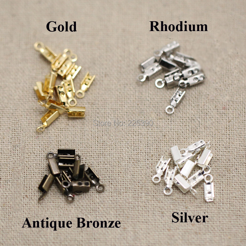 200pc/lot 7*3mm Rhodium Plated End Caps Leather Cord Crimp Caps For Necklace Chain DIY Connector Jewelry Findings Making Y732(China (Mainland))