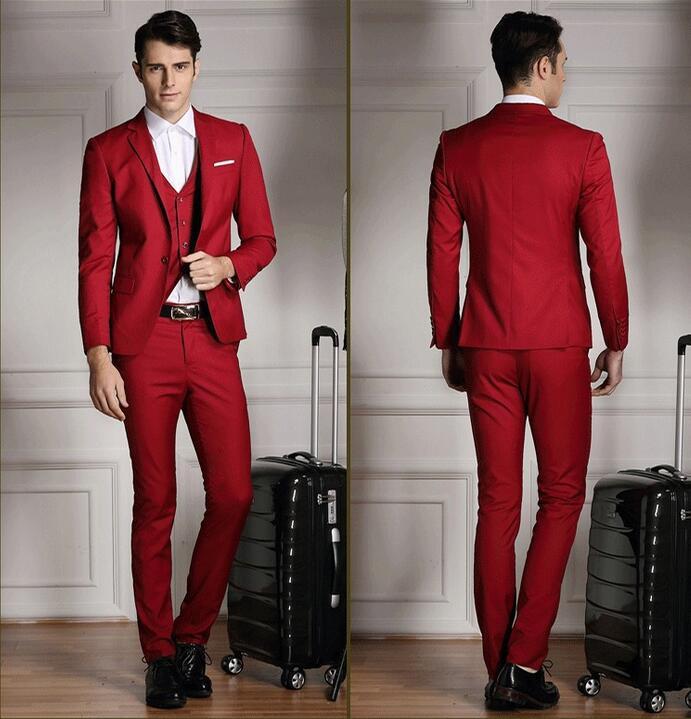 Mens Red Slim Fit Suit Dress Yy