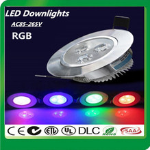 High quality LED Downlight Embedded AC85-265V 9W RGB LED Ceiling Downlight + Remote control LED Ceiling Lamp  Free shipping(China (Mainland))