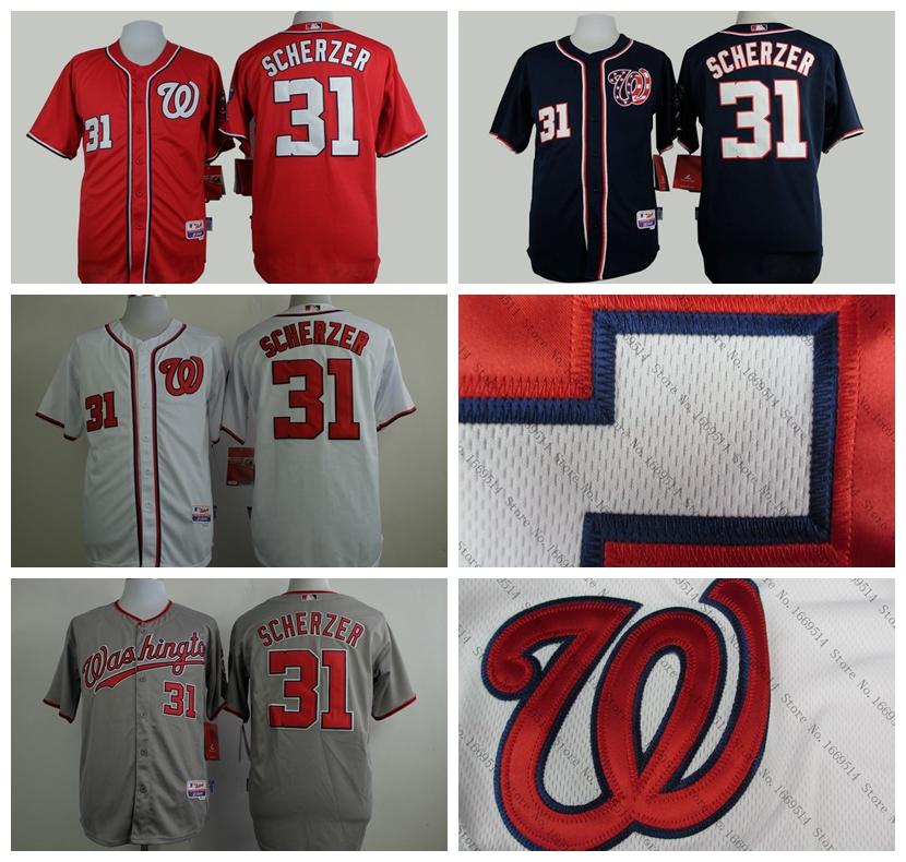 2015 New Washington Nationals Authentic 31 Max Scherzer Baseball Jersey Red Blue Embroidery Stitch Shirt 10th Anniversary Patch(China (Mainland))