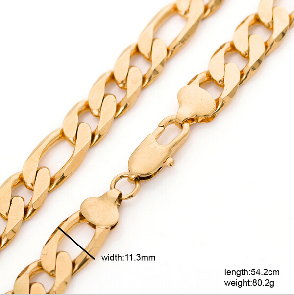 "Heavy metal chain Long 54cm men gold figaro chain 22K yellow gold filled wide 22"" 12mm 80grams chain necklace(China (Mainland))"