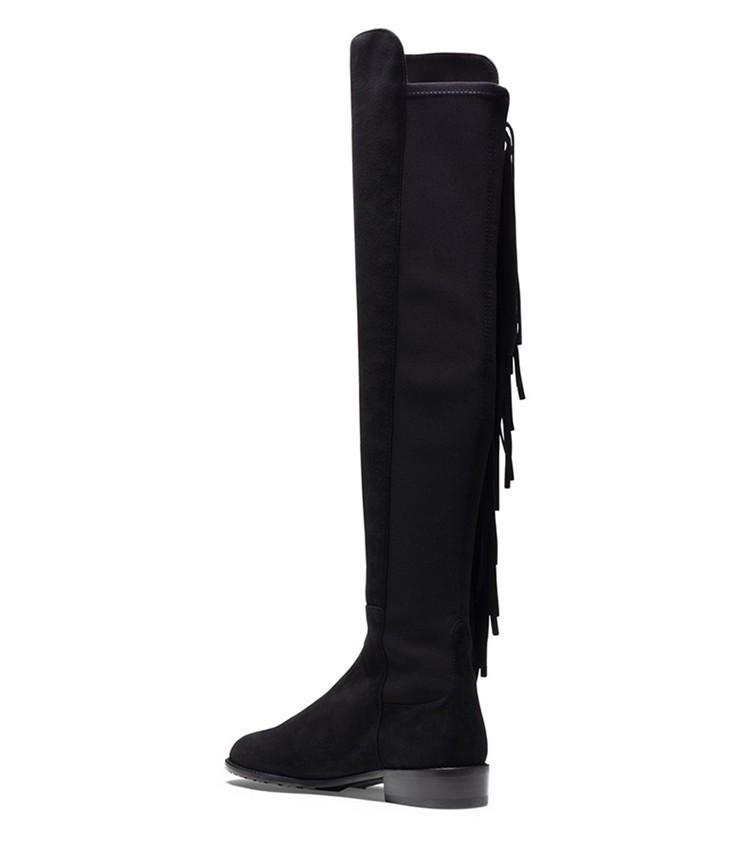Knee boots new winter long fringed leather handbag SUB675