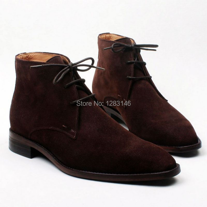 Free Shipping Handmade Lacing Leather Outsole/Upper/Insole Color Coffee Suede Mackay Craft Men's Fashion Leather Boot No.a121(China (Mainland))