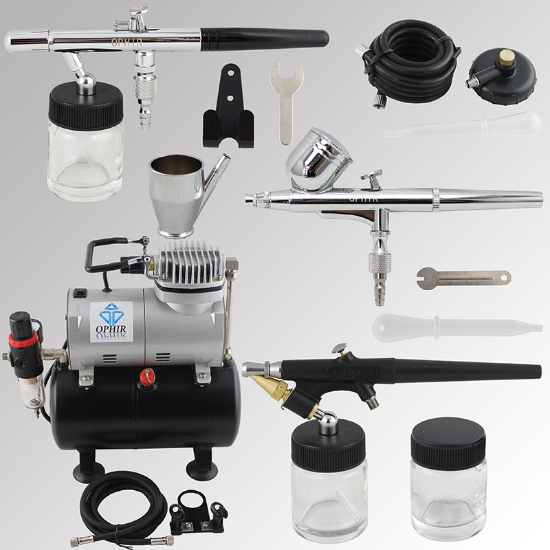 OPHIR Pro 0.3mm 0.35mm 0.8mm 3-Airbrush Air Compressor Kit for Wall T-shirt Painting Tanning Hobby _AC090+AC004A+AC071+AC072<br><br>Aliexpress