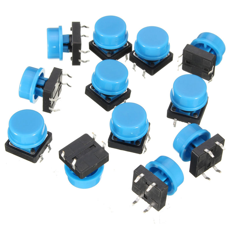 20pcs 4Pin Blue Tactile Push Button Switch Momentary Tact Caps Used in the Fields of Electronic Products Waterproof(China (Mainland))