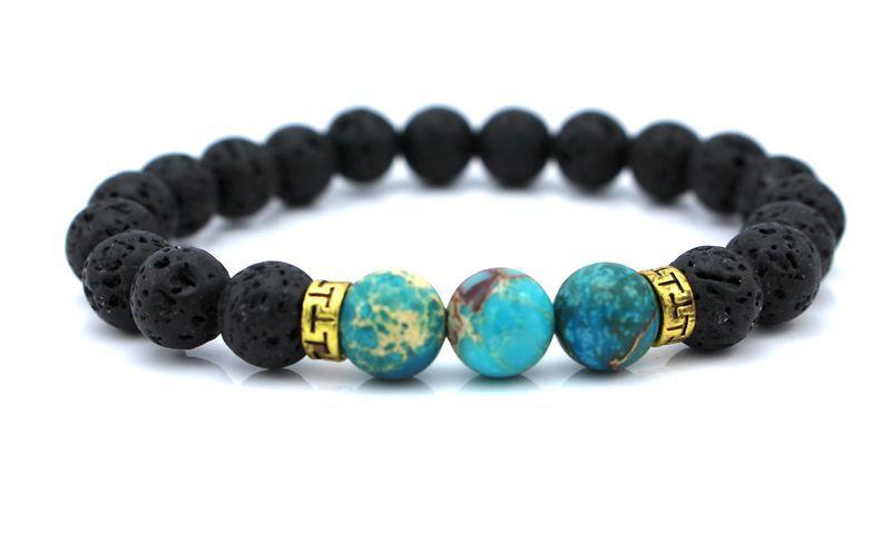 New Products Wholesale Lava Stone Beads Natural Stone Bracelet, Men Jewelry, Stretch Yoga Bracelet()