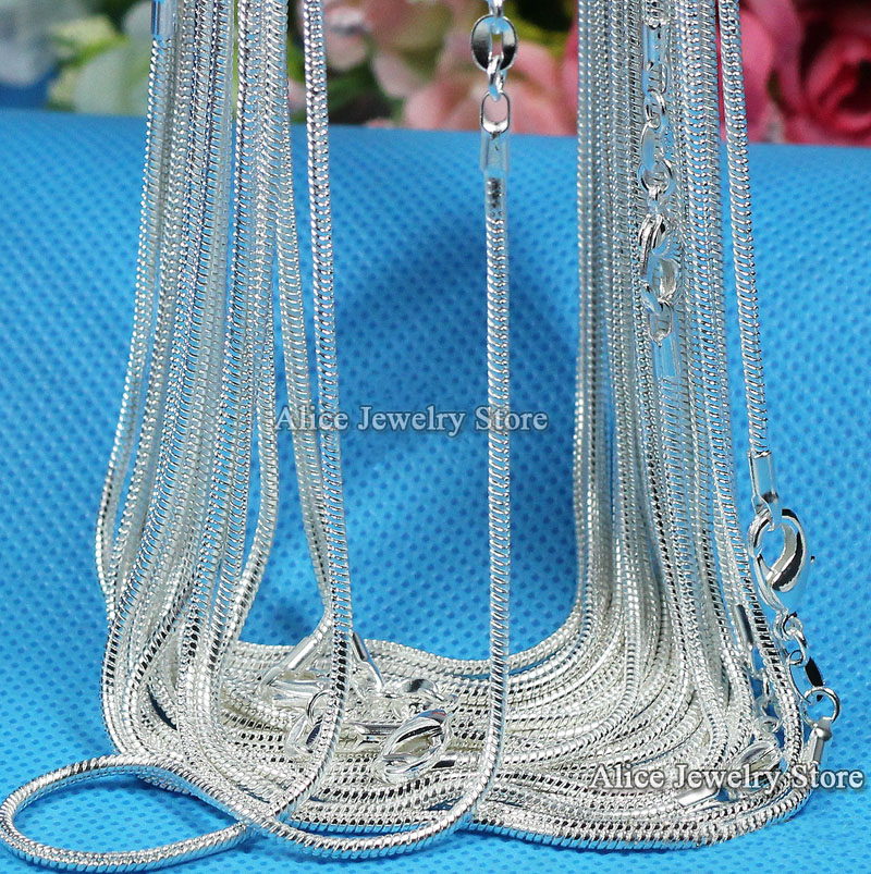 "Wholesale 10pcs/lot,Fashion Silver Necklace Chains,1mm 925 Jewelry Silver Plated Snake Chain Necklace 16""-30"",Pick Length"