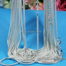 """Buy Wholesale 10pcs/lot,Fashion Silver Necklace Chains,1mm 925 Jewelry Silver Plated Snake Chain Necklace 16""""-30"""",Pick Length for $6.99 in AliExpress store"""