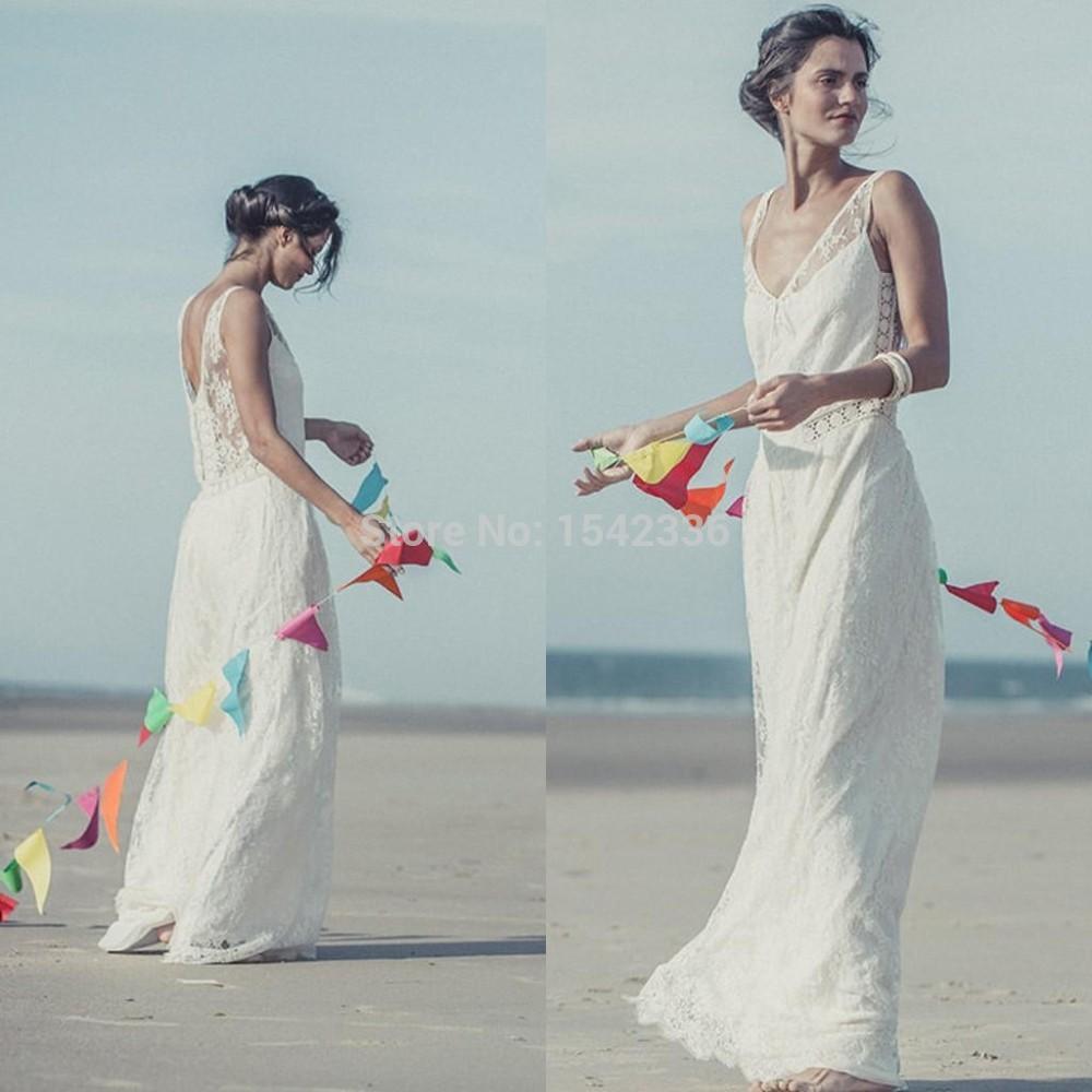 Fashionable sale vestidos de noiva 2016 bohemian wedding for Sheath v neck wedding dress