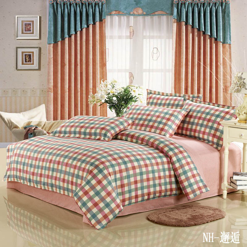 Blue And Red Plaid 4 Pcs Bedding Set Wedding Bed Set Duvet