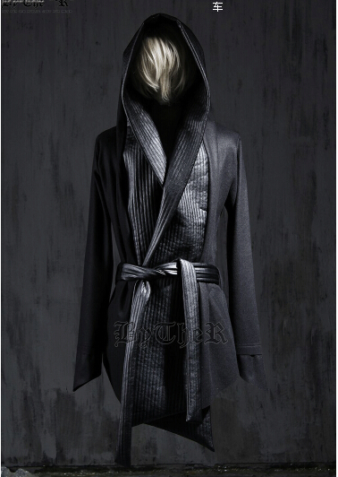 2015 New Fashion Mens Wool Pea Coat Hooded Cloak Jacket Men Overcoat Winter Dress Gothic Trench Coats Harajuku Leather Designer(China (Mainland))