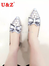 2016 Lovely big bow casual Shoes Beige/White/Silver leather,Breathable Women Flats triangle Hollow out sping summer loafer shoes(China (Mainland))