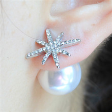 2016 design fashion new jewelry starfish full Crystal stud earing double Imitation pearls 18k gold plated earring for women(China (Mainland))