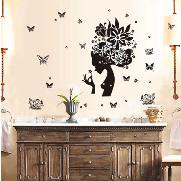Latest Art Black Butterfly Woman Wall Sticker Home Decor For Living Room Diy Portrait Decal