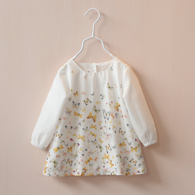 New Girls baby  butterfly printing long sleeve Childrens skirt shirt wholesale  <br><br>Aliexpress