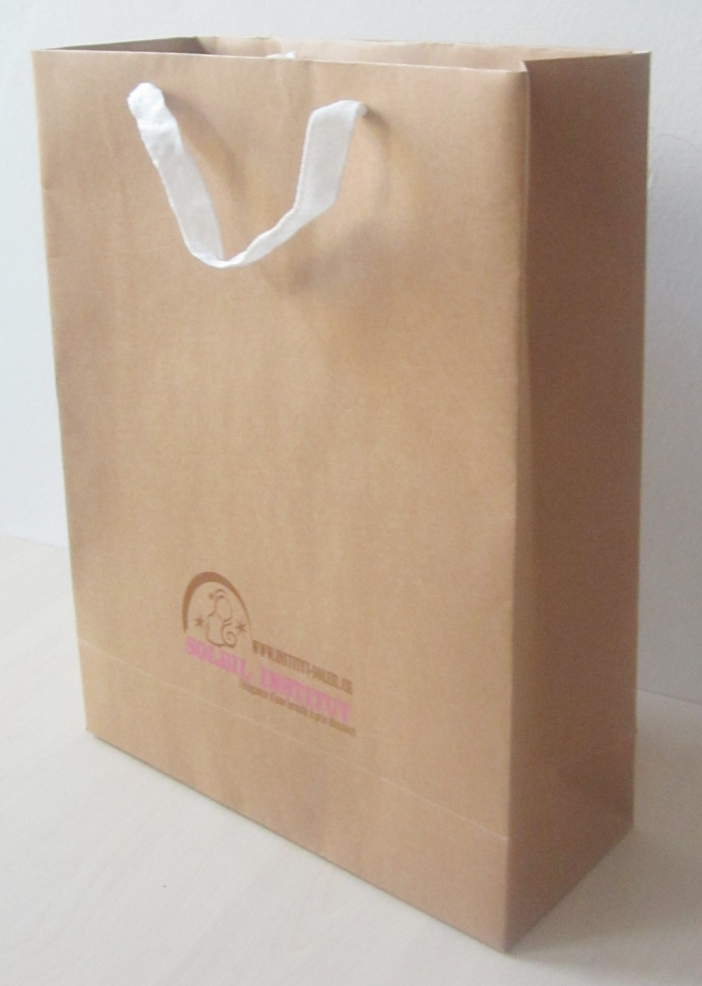 40*30*12cm 200pcs/lot art paper bag nature color with logo,free shipping brown tote bag,shopping bag craft paper,200g(China (Mainland))