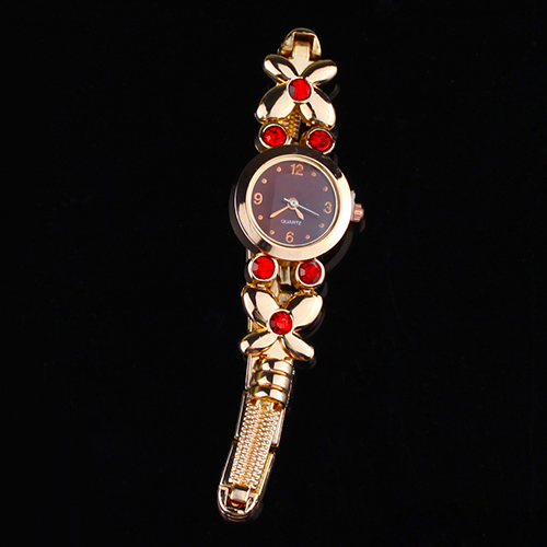 Popular Women's Girl's Flowers Decoration Rhinestone Bracelet Quartz Wrist Unique Watches NO181 5UZA 3Y3FD