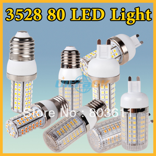 G9/E27/E14 220V 110V 5W 3528 SMD 80 LED Cool / Warm White Corn Light Bulb With cover