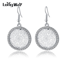 New Vintage Silver Earrings Fashion Design Big Crystal Drop Earrings For Women Bridal Wedding Statement Jewelry SER150015(China (Mainland))