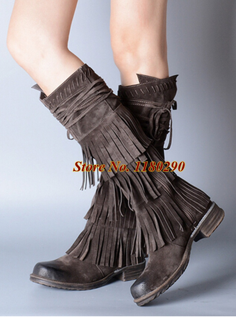 2015 Winter New Fashion Women Round Toe Roman Design Genuine Leather Tassels Cowboy Boots Flat Gladiator Boots Riding Shoes<br><br>Aliexpress