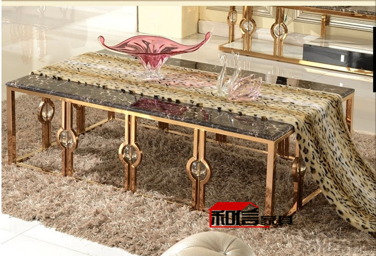 After The Rose Gold Stainless Steel Coffee Table End Table Simple Marble Ktv Metal Furniture