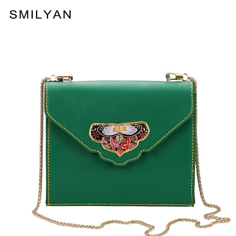 Smilyan vintage women embroidery crossbody bag ladies fashion small genuine leather shoulder bags famous brand handbags