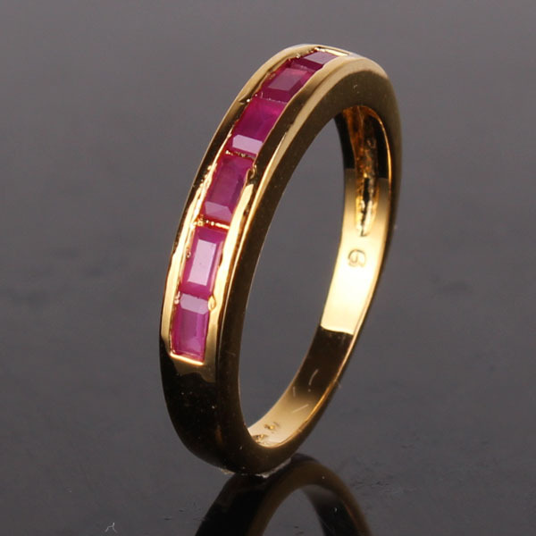 Luxury 24k gold plating famous brand rings lady unique prinecess ruby journey ring women high quality